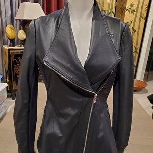 Via Spiga Womens Lighweight Leather Ponte Jacket